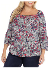 80eca306cb261 ... Women s Blouse Plus Size Shirt Cold Shoulder Top 1066.  8.99 New.  Directions 3 4 Bell Sleeves Smocked Square Neckline Peasant Top 2x