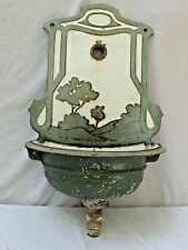 Antique Lavabo Iron and Porcelain Enamel Wall Fountain Scenic Pattern