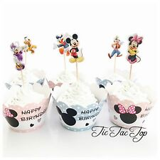 12 Disney Mickey Minnie Mouse & Friends Cupcake Topper + Wrapper. Party Supplies