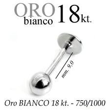 Piercing body TRAGO 9mm CORPO LABRET LABBRO in ORO BIANCO 18kt. white GOLD