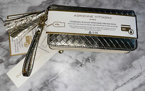 Adrienne Vittadini Smartphone Charging Wallet Strap RFID Protection GOLD New