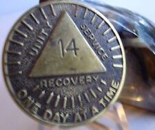 "Alcoholics Anonymous AA 14 Year/Month ""Sunshine"" Bronze Medallion Token Coin"