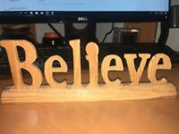 """Believe Word Carved Wood Home Decor 10"""" x 3.25 """"  preowned"""