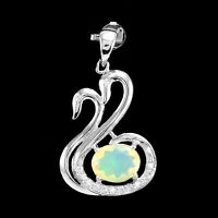 10x8 mm Natural Rainbow Fire Opal White Cz 925 Solid Silver Luxury Pendant