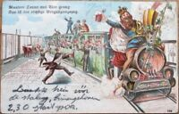 Beer-Drinking Men & Booze Train/Railroad 1903 Color Litho Postcard