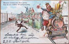 Beer-Drinking Men & Booze Train/Railroad 1903 Color Litho Postcard