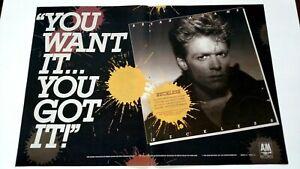 """BRYAN ADAMS  """" RECKLESS """" (1984)  LARGE RARE ORIGINAL PRINT PROMO POSTER AD"""