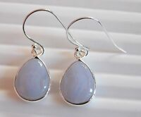 2.60 Gm Earring 925 Solid Sterling Silver Natural Blue Lace Agate Earrings K-761
