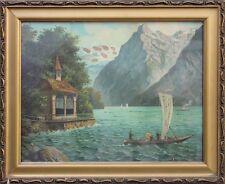 Kapelle am Genfer See Segelschiff - Chromolithographie, um 1900