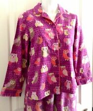 Nick & Nora 2 Piece Pajamas  Multi Color Owls on Purple Flannel Size Small