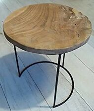 TABLE BASSE APPOINT TECK ( BOIS ) ET FER FORGE DESIGN GERIDON CHEVET CAMPAGNE 78