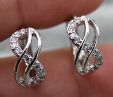 "18K White Gold Filled - 2-Layer Hollow ""8"" Topaz Zircon Women Gems Hoop Earrings"