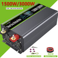 1500W 3000W Pure Sine Wave Power Inverter 24V To AC 120V LCD USB 60Hz RV Caravan