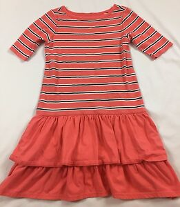 Tea Collection Guava Berber Stripe Tiered Ruffle 1/2 Sleeve Knit Dress 10 Years