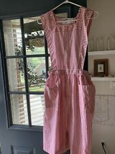 Vtg Candy Striper Uniform Dress Apron Red White Pinafore Stripe Hospital 1950s