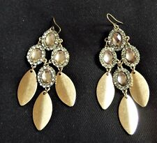Earring Gold & Clear Crystal Diamantes Vintage Inspired Golden Leaf Drop Pierced