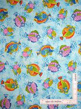Fish Fishes Nautical Aqua Cotton Fabric QT 24334-Q Jewels of the Sea By Yard