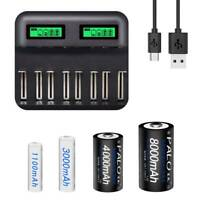 Chargeur batterie intelligent 8 emplacements USB pr piles rechargeables C LB