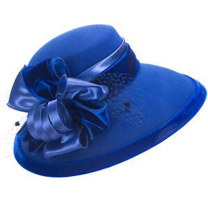 Women Royal Blue Wool Felt Floppy Wide Brim Elegant Formal Church Hat A509