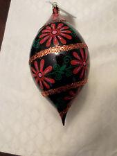 "Christopher Radko ""Christmas Blossom Drop""  Blue & Pink Ball Ornament 1999 NWT"