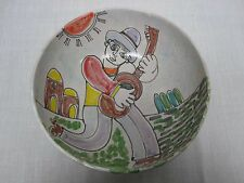 "VINTAGE GIOVANNI DESIMONE ITALY H/PAINTED LARGE 12"" SALAD BOWL w MAN w GUITAR"