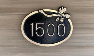 Custom Brass Address Plaque: Sawtooth Oak Series, Times Oak Oval Home Address