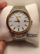 Seiko Solar Mens White Date Dial Two Tone Bracelet Watch SNE324-R2