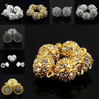 Clear Czech Crystal Silver Gold Round Ball Magnetic Clasp Beads For Bracelet DIY