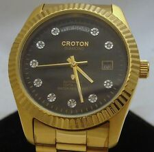 Men's Croton Watch Genuine DIAMONDS Japan Movement  Water Resistant Steel