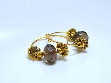 Rauchquarz Creolen Ohrringe Ohrhänger Tiny Chestnuts vergoldet
