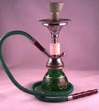 Hookah 1 Hose Pipes Shisha Smoke Glass Smoking Water Tobacco green & gold