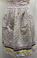 MCM 40s - 60s  Vintage Floral Apron Pockets Half Purple White Flower Striped