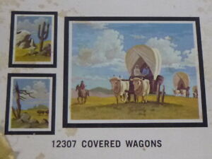 Vtg 1973 Craft Master paint By Number KIT Covered Wagons Western 3 paintings