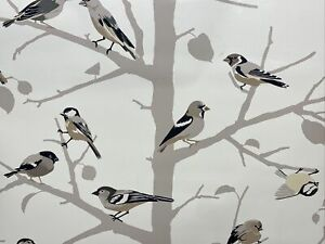 Wallpaper Luxury Wall Coverings Art Birds on a Tree Branch Tan Brown Beige Cream