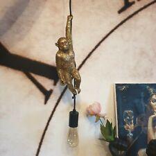 HANGING MONKEY PENDANT LAMP - Gold Metallic Resin Ceiling Light