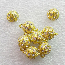 10Sets Excellent Rhinestone Gold Plated magnetic clasp for jewelry NN2336