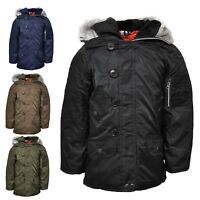 Boys  Parka Jacket Coat School Winter Christmas Xmas RRP £39.99 Age 2-13