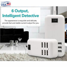 Multi 6 USB Port Desktop Charger Rapid Tower Charging Station Power Adapter USA