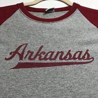 Arkansas Men's Short Sleeve Raglan T Shirt XL Extra Large Gray Red Crewneck