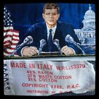 JFK WASHINGTON FLAG SCENERY VINTAGE ITALIAN RUG PLUSH WALL HANGING TAPESTRY ART