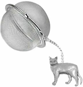 ppc04 Burmese Cat 2 inch Tea Ball Mesh Infuser Stainless Strainer