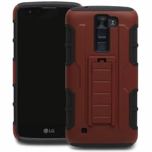 Protective Hybrid Armor Case Cover For LG K8 in Red