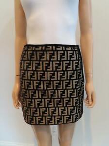 NWOT Fendi Brown/Beige Zucca  FF Logo Velvet Mini Skirt  38/US 2 $850