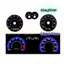 BLACK Indiglo El Gauges Kit Glow BLUE Reverse for 03-08 Tiburon w/ tach RPM