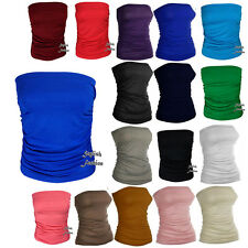 Ladies New Plain Strapless Sleeveless Ruched Boob Tube Womens Bandeau Top 8-22