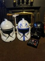 STAR WARS HELMETS, CAPTAIN REX, CLONE TROOPER & DARTH VADER COMPLETE & WORKING