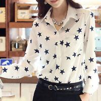 Women White Loose Chiffon Blouse Tops Star Print Casual Long Sleeve T-Shirt S-XL