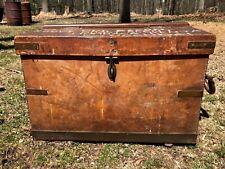 Unique Vintage BRITISH MADE Leather Trunk/Suitcase, brass hardware, w provenance