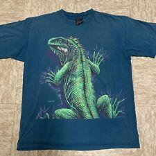 New listing Vtg 90s Iguana All Over Print T-Shirt Size Xl Blue Lizard Habitat Signal
