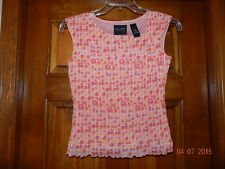 AXCESS 100% Nylon Coral Peach Geometric Lined Sleeveless Blouse Tank Top S Liz